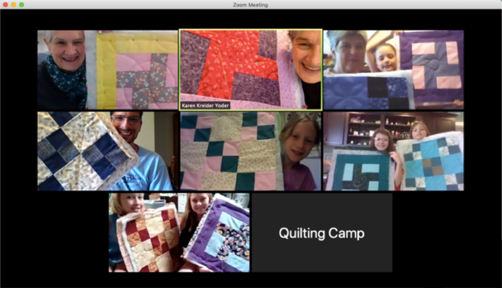 Quilt campers, instructors and helpers show their quilts virtually.